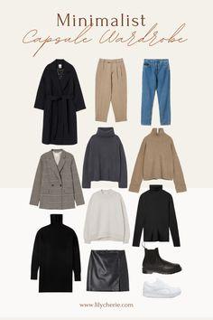 Fall Capsule Wardrobe, Capsule Outfits, Fashion Capsule, Mode Outfits, Girly Outfits, Casual Winter Outfits, Winter Fashion Outfits, Minimal Wardrobe, Mode Chic