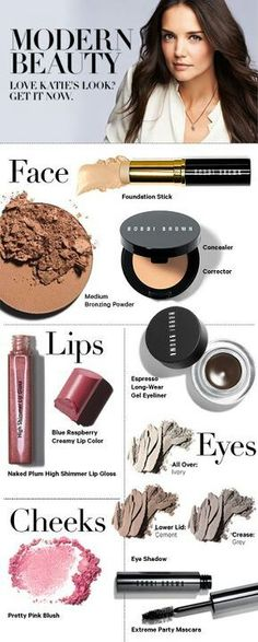 Get Katie Holme's Look Bobbi Brown Cosmetics Katie Holmes, Contour Makeup, Makeup Dupes, Love Makeup, Hair Makeup, Beauty Make Up, Hair Beauty, Divas, Web Design