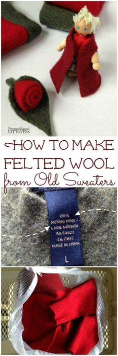 How to Make Felted Wool from Old Sweaters - This is a simple tutorial for felting wool sweaters in the washing machine to use in sewing and DIY projects.