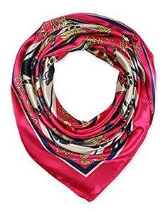 "corciova Women's 35"" Designer Square Silk Like Hair Scarf Headwear 90 x 90 cm Fuchsia $9.99 Free Shipping"
