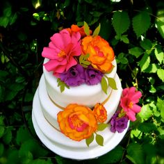 Cake Topper Set  Paper Flowers - Pink and Orange - Purple - wedding cake - made to match your style by DragonflyExpression