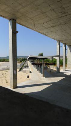 Rail station, arch.Luigi Snozzi, Carbonia Luigi, Less Is More, Switzerland, Architects, Concrete, Pergola, Sidewalk, Outdoor Structures, Spaces