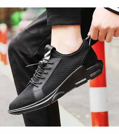Men's #black flyknit sport shoe #sneakers, lace up style, casual, sport, trainers Occasions.