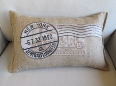 Postage Paid new york inspired Burlap Accent by pineconeshoppe, $40.00