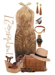 """TAN"" by purplerose27 ❤ liked on Polyvore featuring Les Copains, Steve Madden, Brooks Brothers, Vero Moda, Kenneth Jay Lane, Giuseppe Zanotti and Shinola"