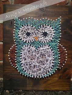 String Art Owl Nursery Decor Wall Decor Modern by ArnieKHandmade, $60.00 // would be pretty easy to diy