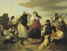 """Lotz Károly """"Táncoló parasztok Arató ünnep"""" (1860)"""
