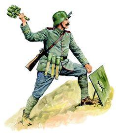 Niemiecki żołnierz batalionu szturmowego rzucający wiązką granatów ręcznych, uzbrojony w karabin Mauser wz. 1898, na głowie Stahlhelm wz. 1916 , pin by Paolo Marzioli