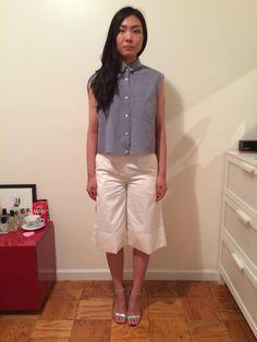 #옷스타그램#데일리룩 #아웃핏 #style #데님셔츠 #민소매셔츠 #nyc #newyorkfashion #clothing #clothingwholesale #wholesaler #nymarket #ootd #culotte #widelegpant #offwhite #navermarket
