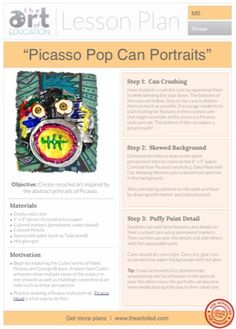 Picasso Pop Can Portraits: Free Lesson Plan Download