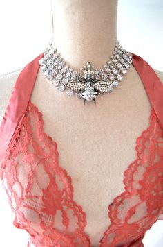 Bee necklace French Queen Bee choker ROmantic by TrueRebelClothing, $50.00