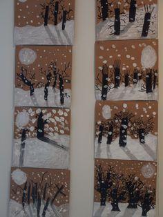 Winter Crafts For Kids Winter Art Projects, Winter Crafts For Kids, School Art Projects, Art For Kids, Kindergarten Art, Preschool Art, Classe D'art, Art Lessons Elementary, Art Classroom