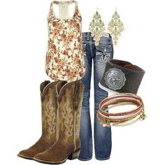 Tank top, boots, jeans, jewelry