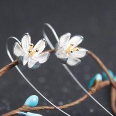 S925 Silver Earrings Retro Drawing Lotus Flower Ear Line Earrings