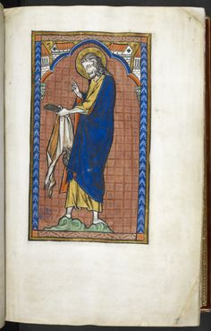Full-page miniature of St Bartholomew holding a knife and his flayed skin, from… Medieval Manuscript, Illuminated Manuscript, Saint Apollonia, St Margaret, 1st Century, Patron Saints, British Library, Bookbinding, Middle Ages