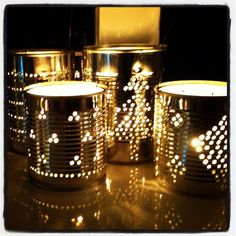 Tin can lanterns Tin Can Crafts, Xmas Crafts, Diy Crafts, Tin Can Lanterns, Deco Champetre, Winter Diy, Diy Projects To Try, Christmas Inspiration, Simple Christmas