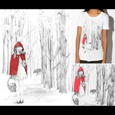 ISO Truly Madly Deeply Tee Shirt Small or XS. Little Red Riding Hood tee shirt illustrated by Alice Rutherford for Urban Outfitters. Would love to buy this from you. Urban Outfitters Tops Tees - Short Sleeve