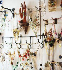jewelry storage on hooks
