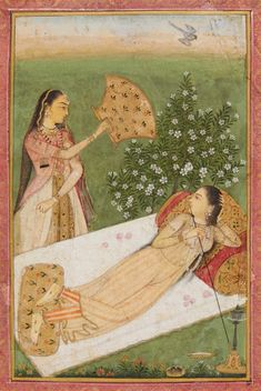 A Mogul style painting depicting a lady on a bed, smoking a water pipe, behind her an blossoming shrub and a female servant with a fan. 18th / 19th century