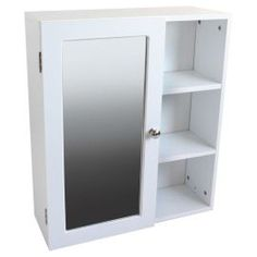 Buy Single Mirror Door White Cabinet With Side Shelves From Our Bathroom Wall Cabinets Range