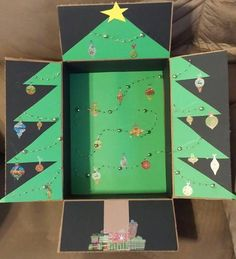 Christmas Tree military care package decorated box- great idea for missionaries