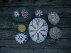 collection of crochet covered stones by knitalatte on Etsy