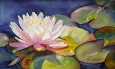 White Lotus Painting-Original Watercolor Painting of White Lotus/Waterlilie-Home Decor Wall Art for Flower Lovers, Gift Idea
