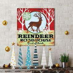 Portfolio Canvas Decor Jennifer Brinley 'Reindeer Roadhouse' Holiday Canvas Print Wall Art