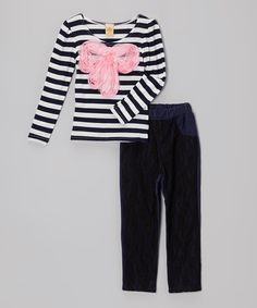 Love this Black & Pink Stripe Bow Top & Jeggings - Toddler & Girls on #zulily! #zulilyfinds