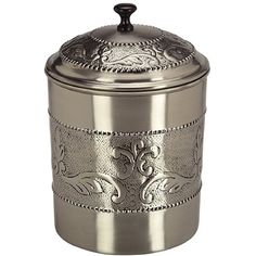 Handcrafted by skilled artisans, this Old Dutch Antique Embossed Victoria Cookie Jar features beautiful chaised motif. This cookie jar showcases a durable stainless steel construction and a pewter finish.