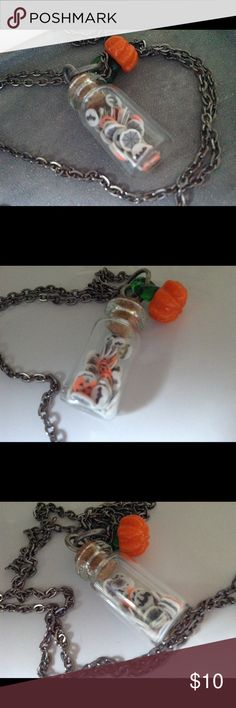 Vintage look Halloween candy jar glass pumpkin Sweet trick or treat, Halloween necklace!  Tiny vintage look cookies inside a tiny jar adorned with a tiny glass pumpkin bead!  The cookies are varied, spider webs, scary black cats and jack o lanterns!  Made by me! Jewelry Necklaces