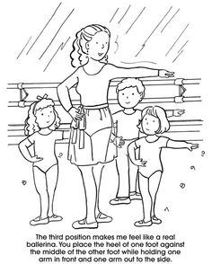 Free Printable Ballet Positions Coloring Pages #1