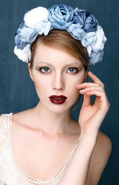 Flower crown Lana del rey Silver gray fabric by MemoryWedding