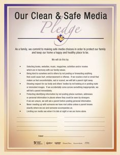 Clean and Safe Media pledge - consider this or something like it in your home. It's in Spanish too.