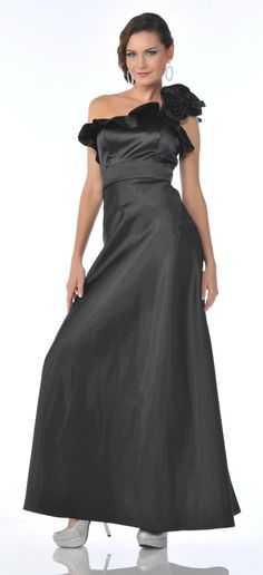 One Shoulder Long Royal Blue Semi Formal Dress Chiffon Empire