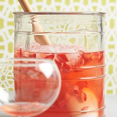 Ruby Rhubarb Lemonade! Add vodka or tequila to make it a cocktail!  More rhubarb-infused recipes: http://www.bhg.com/recipes/from-better-homes-and-gardens/may-2014-recipes