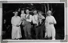 """Murphy Family Portrait - """"Left to right:my grandma Evelina Clancy Murphy beside papa Murphy, Pat """"PJ"""" holding my brother Frank; Papa Joe Dillon holding my oldest brother Joe beside Grandma Dillon, Maude O'Meara"""" - Mary Rush (Photo from archives of San Diego video producer Patty Mooney of Crystal Pyramid Productions)"""