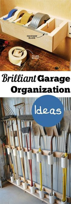 Garage Organization ideas that will make life easier. Great ideas, tips, tutorials for insanely easy garage organization.Brilliant Garage Organization ideas that will make life easier. Great ideas, tips, tutorials for insanely easy garage organization. Organisation Hacks, Garage Organization Tips, Storage Hacks, Garage Ideas, Organizing Tips, Cleaning Tips, Craft Storage, Craft Organization, Workbench Organization