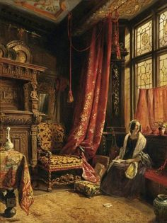 An Antique Interior at West Hill House, Hastings - William Collingwood 1842