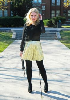 holiday outfit: sequin skirt