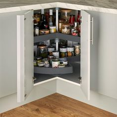 Organise culinary utensils or food reserves to suit any layout and lifestyle with this standard anthracite corner carousel. Corner Storage, Corner Shelves, Storage Shelves, Kitchen Storage, Shelf, Corner Liquor Cabinet, Food Storage Organization, Kitchen Corner, Adjustable Shelving