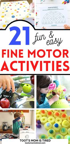 21 Fun Fine Motor Activities for Toddlers Cutting Activities For Kids, Two Years Old Activities, Toddler Fine Motor Activities, Pre K Activities, Motor Skills Activities, Montessori Activities, Easy Preschool Crafts, Easy Toddler Crafts, Toddler Preschool
