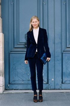 bb4556d0 Vanessa Jackman: Paris Fashion Week AW 2013 Parisienne Chic, Blue Velvet  Suit, Velvet