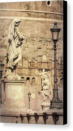 Ponte Sant'angelo Statues Rome Italy Canvas Print by Joan Carroll.  All canvas prints are professionally printed, assembled, and shipped within 3 - 4 business days and delivered ready-to-hang on your wall. Choose from multiple print sizes, border colors, and canvas materials.   #Rome #italy #ponte #bridge #santangelo #statues #travel #tourism   Visit joan-carroll.pixels.com for more #art #photography #fashion and #homedecor items from #ITALY and around the world! @joancarroll +JoanCarroll