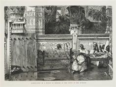 A woman kneeling next to a sarcophagus and crying - Sir Lawrence Alma-Tadema