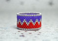 PEYOTE RING  Patriot by PeyoteRings on Etsy