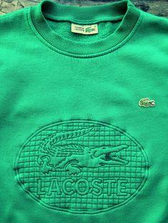 77d812f43 LACOSTE MENS LARGE 5 VINTAGE GREEN CROCODILE EMBLEM SWEATSHIRT JUMPER TOP  Oversized Dress