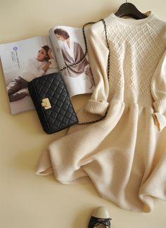 【楽天市場】ウール混★厚手編み方の切替が、とっってもお洒落なニットワンピース♪長袖ワンピース・ショート・Aライン・レディースファッション・メール便不可【AW】:笑顔美人