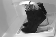 H & M x Maison Martin Margiela black leather ankle boots with perspex heel
