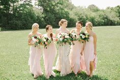 Pretty blush bridesmaid dresses: http://www.stylemepretty.com/canada-weddings/ontario/cambridge-ontario/2016/02/01/romantic-whistle-bear-golf-club-wedding/ | Photography: Oak & Myrrh - http://www.oakandmyrrh.com/